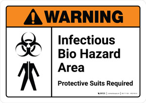 Warning: Infectious Bio Hazard Area Protective Suits Required with Icons ANSI Landscape - Wall Sign