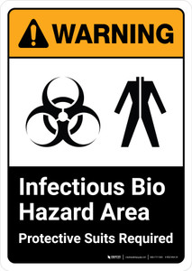 Warning: Infectious Bio Hazard Area Protective Suits Required with Icons ANSI Portrait - Wall Sign