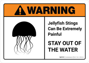Warning: Jellyfish Stings Can Be Painful Stay Out Of Water with Icon ANSI Landscape - Wall Sign