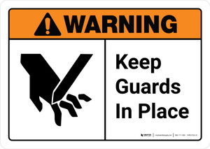 Warning: Keep Guards in Place with Icon ANSI Landscape - Wall Sign
