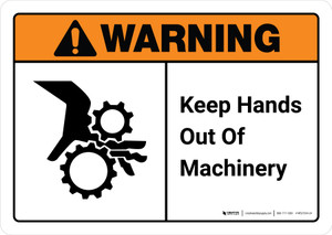 Warning: Keep Hands Out of Machinery with Icon ANSI Landscape - Wall Sign