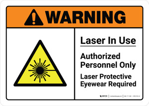 Warning: Laser In Use Authorized Personnel Only with Icon ANSI Landscape - Wall Sign