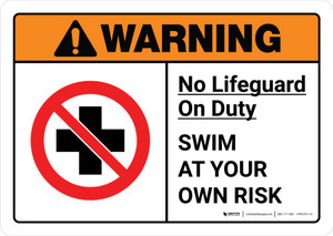 Warning: No Lifeguard on Duty Swim at Own Risk with Icon ANSI Landscape - Wall Sign