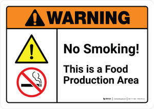 Warning: No Smoking This is a Food Production Area with Icons ANSI Landscape - Wall Sign