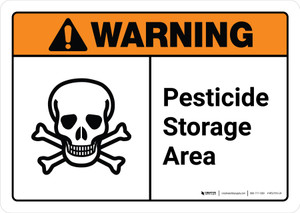 Warning: Pesticide Storage Area with Icon ANSI Landscape - Wall Sign