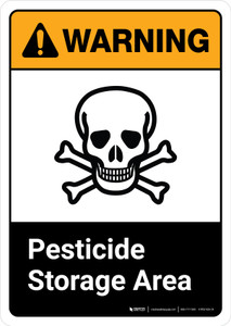 Warning: Pesticide Storage Area with Icon ANSI Portrait - Wall Sign