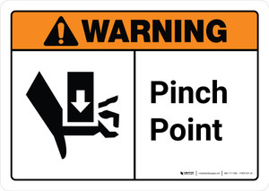Warning: Pinch Point with Icon ANSI Landscape - Wall Sign