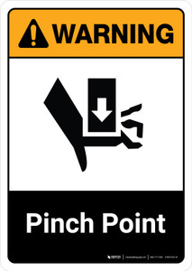 Warning: Pinch Point with Icon ANSI Portrait - Wall Sign