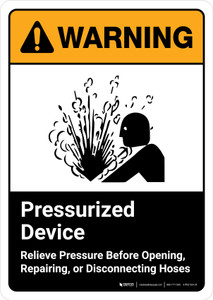 Warning: Pressurized Device Relieve Pressure Before Opening with Icon ANSI Portrait - Wall Sign