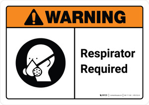 Warning: Respirator Required with Icon ANSI Landscape - Wall Sign