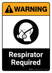Warning: Respirator Required with Icon ANSI Portrait - Wall Sign
