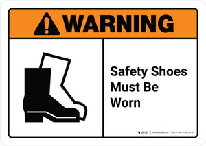 Warning: Safety Shoes Must be Worn with Icon ANSI Landscape - Wall Sign
