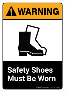 Warning: Safety Shoes Must be Worn with Icon ANSI Portrait - Wall Sign