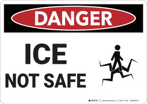 Danger: Ice Not Safe Osha With Graphic - Wall Sign