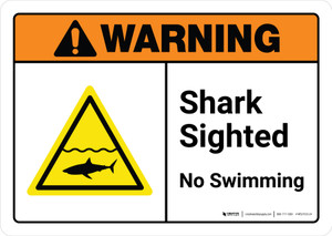Warning: Shark Sighted No Swimming with Icon ANSI Landscape - Wall Sign