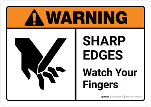 Warning: Sharp Edges Watch Your Fingers with Icon ANSI Landscape - Wall Sign