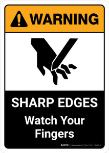 Warning: Sharp Edges Watch Your Fingers with Icon ANSI Portrait - Wall Sign