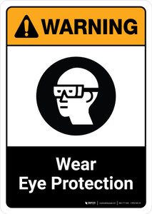 Warning: Wear Eye Protection with Icon ANSI Portrait - Wall Sign