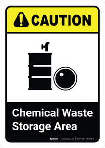 Caution: Chemical Waste Storage Area with Icon ANSI Portrait - Wall Sign
