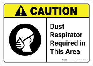 Caution: Dust Respirator Required Area with Icon ANSI Landscape - Wall Sign