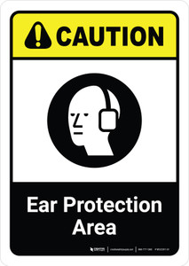 Caution: Ear Protection Area with Icon ANSI Portrait - Wall Sign