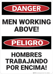 Danger: Mens Working Above Bilingual - Wall Sign