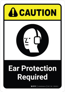 Caution: Ear Protection Required with Icon ANSI Portriat - Wall Sign