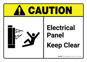 Caution: Electrical Panel Keep Clear with Icon ANSI Landscape - Wall Sign