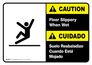 Caution: Floor Slippery When Wet Bilingual with Icon ANSI Landscape - Wall Sign