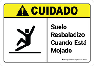 Caution: Floor Slippery When Wet Spanish with Icon ANSI - Wall Sign