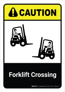 Caution: Forklift Crossing with Icon ANSI Portrait - Wall Sign