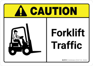 Caution: Forklift Traffic with Icon ANSI Landscape - Wall Sign