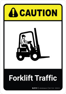 Caution: Forklift Traffic with Icon ANSI Portrait - Wall Sign