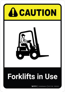 Caution: Forklifts In Use with Icon ANSI Portrait - Wall Sign