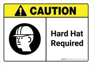 Caution: Hard Hat Required with Icon ANSI Landscape - Wall Sign