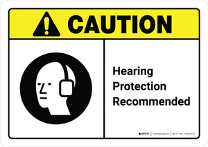 Caution: Hearing Protection Recommended with Icon ANSI Landscape - Wall Sign