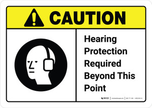 Caution: Hearing Protection Required Beyond This Point with Icon ANSI Landscape - Wall Sign