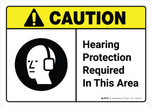 Caution: Hearing Protection Required In Area with Icon ANSI Landscape - Wall Sign