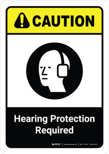 Caution: Hearing Protection Required with Icon ANSI Portrait - Wall Sign