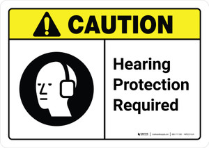 Caution: Hearing Protection Required with Icon ANSI Landscape - Wall Sign