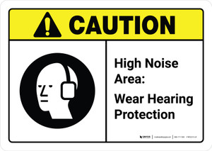 Caution: High Noise Area Wear Hearing Protection with Icon ANSI Landscape - Wall Sign