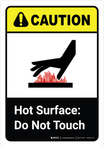Caution: Hot Surface Do Not Touch Vertical with Icon ANSI Portrait - Wall Sign