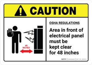 Caution: OSHA Regulations Electrical Panel Keep Clear with Icon ANSI Landscape - Wall Sign
