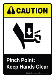 Caution: Pinch Point Keep Hands Clear with Icon ANSI Portrait - Wall Sign