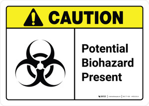 Caution: Potential Biohazard Present with Icon ANSI Landscape - Wall Sign