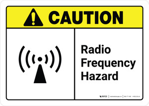 Caution: Radio Frequency Hazard with Icon ANSI Landscape - Wall Sign