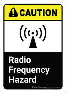 Caution: Radio Frequency Hazard with Icon ANSI Portrait - Wall Sign