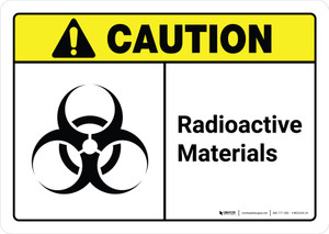 Caution: Radioactive Materials with Icon ANSI Landscape - Wall Sign
