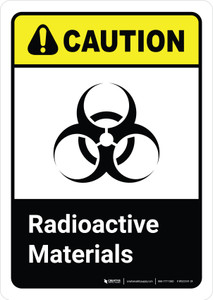 Caution: Radioactive Materials with Icon ANSI Portrait - Wall Sign