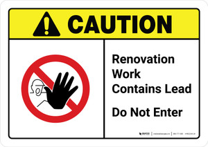 Caution: Renovation Work Contains Lead Do Not Enter with Icon ANSI Landscape - Wall Sign